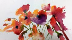 Loose Wet into Wet Watercolours with Andrew Geeson 'Poppies' Watercolor Poppies, Watercolor Video, Watercolor Painting Techniques, Watercolour Tutorials, Watercolor Illustration, Watercolour Paintings, Watercolor Artists, Drawing, Watercolors