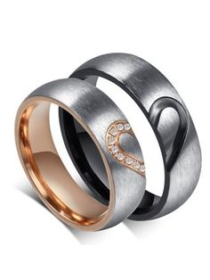 ROWAG Men Heart Shape Titanium Stainless Steel Couple Wedding Rings for Him and Her Women Cubic Zirconia CZ Inlaid Promise Engagement Bands ~ Promise Rings ~ It's Wedding Time! Matching Couple Rings, Matching Promise Rings, Wedding Rings Sets His And Hers, Promise Rings For Couples, Promise Band, Matching Wedding Rings, Matching Couples, Matching Set, Cute Promise Rings