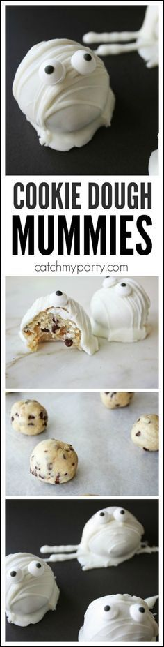 Try these cookie dough cake ball mummies for Halloween. There's no baking involved and the cookie dough is safe to eat! Try them at your Halloween party! For more Halloween party ideas check out http://CatchMyParty.com.