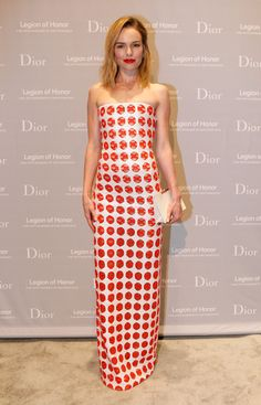 We're seeing spots! Kate's red-and-white Dior Haute Couture gown featured intricate embroidery.