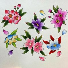 Ideas For Flowers Tattoo Small Drawings Japanese Flower Tattoo, Small Flower Tattoos, Japanese Flowers, Flower Tattoo Designs, Small Tattoos, Pencil Drawings Of Flowers, Small Drawings, Colorful Drawings, Traditional Tattoo Flowers