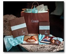Greer Photography - Rice Studio Supply - photo print packaging - bags - boxes - portrait cases - brown & blue