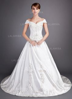 [US$ 227.84] Ball-Gown Off-the-Shoulder Chapel Train Satin Wedding Dress With Embroidered Beading Sequins (002012813)