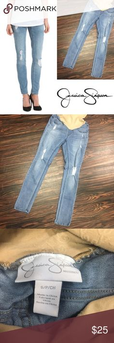 JESSICA SIMPSON distressed skinny maternity jeans Jessica Simpson distressed skinny fit maternity jeans. Size small, super cute fit. GUC Jessica Simpson Jeans Skinny