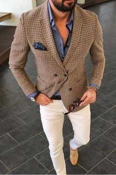 Men's suit fashion Suit jackets are for your all formal look. Here is how you can make your formal … Wedding Suit Styles, Wedding Suits, Mode Man, Look Blazer, Check Blazer, Check Coat, Herren Outfit, Mens Fashion Suits, Men's Fashion