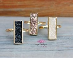 Druzy ring  bridsmaids jewelry   24K Gold Plated  by anthology27