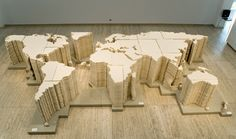 Ai Weiwei, World Map (2006), installation at the 15th Biennale of Sydney, Australia Cotton and wooden base 1 x 8 x 6m