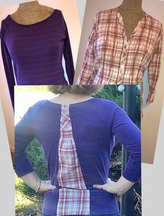 Hello Refashion Co-op. I had these two shirts with the same color schemes. The purple and coral colors matched very well. The purple shirt ...