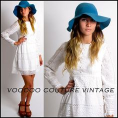 VTG 60S 70S SHEER WHITE LACE BOHO HIPPIE MINI WEDDING DRESS POET SLVS