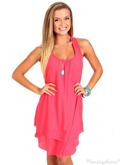 Beat The Heat Coral Ruffle Dress | Monday Dress Boutique