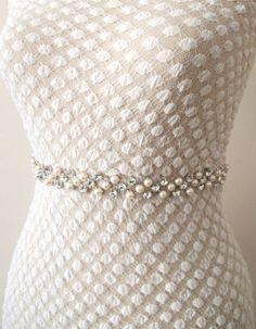 Bridal Crystal Pearl Beaded  Belts  Wedding Sash Belt by gebridal, $35.00