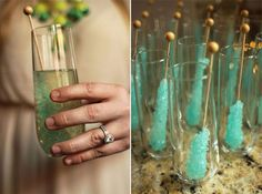 Rock Candy Champagne Cocktail - I'm pinning because I'm in love with the color of the rock candy and am highly considering using it as my wedding color.