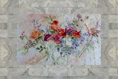 Large Art Big Painting Large Poster Flowers Oil Painting Peonies Roses Lilac Ginger Red Blue Turquoise Cipria Art Cottage Home Wall Print Ha Cherry Blossom Wallpaper, Oil Painting Flowers, Knife Painting, Large Art, Etsy, Lilac, Decorative Boxes, Unique Jewelry, Handmade Gifts
