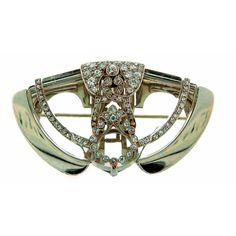 Art Deco Diamond, Rock Crystal & Platinum Brooch / Clip; Circa 1920's