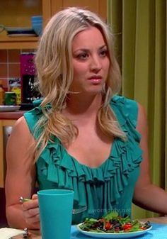 Penny's teal green ruffle top on The Big Bang Theory.  Outfit details: http://wornontv.net/15367/