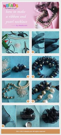 DIY Necklace : How to make a ribbon and pearl necklace-well paired with your sweater