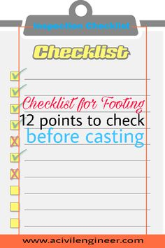 Inspection Checklist for Footing: 12 Points to Check Before Casting - A Civil Engineer Concrete Structure, Construction Process, Civil Engineering, Cement, Binder, Civilization, Foundation, It Cast, Learning