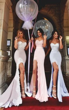 MACloth Mermaid Long Bridesmaid Dress with Slit Strapless Jersey Prom Gown Mermaid Bridesmaid Dresses, Mermaid Dresses, Bridal Dresses, Prom Dresses, Best Wedding Guest Dresses, Perfect Wedding Dress, Wedding Fun, Wedding Outfits, Destination Wedding