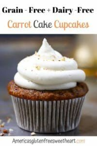 The best carrot cake cupcakes! Incredibly moist, tender, soft, and delicious. An easy to make, made with paleo flour cupcake recipe. #grainfree #cupcakes #glutenfree #carrotcake #cake Gluten Free Cupcake Recipe, Gluten Free Carrot Cake, Gluten Free Baking, Gluten Free Desserts, Dairy Free Recipes, Cupcake Recipes, Dessert Recipes, Appetizer Recipes, Yummy Recipes