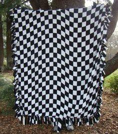 Love the fleece! Checkered Flag Fleece Blanket - Black and White Checkerboard | DonnasDesignsSC - Housewares on ArtFire
