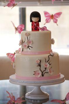 Fabulously cute cake from Cake Works. Japanese Birthday, Japanese Party, Japanese Cake, Cupcakes, Cupcake Cakes, Chinese Cake, Cherry Blossom Cake, Anime Cake, 30 Cake