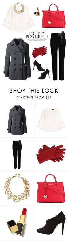 """Pops of Red to Work"" by mariale-lifestyle ❤ liked on Polyvore featuring Lands' End, J.Crew, Oscar de la Renta, MICHAEL Michael Kors and Tom Ford"