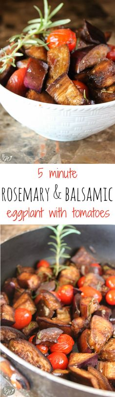 5-minute rosemary and balsamic eggplant with tomatoes | therusticwillow.com