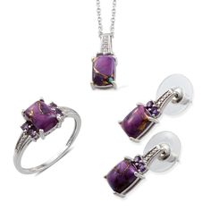Liquidation Channel -  Affordable Mojave Purple Turquoise (Cush), Amethyst Ring (Size 7), Earrings and Pendant in Platinum Overlay Sterling Silver Nickel Free With Stainless Steel Chain (20 in) TGW 9.1010 cts.