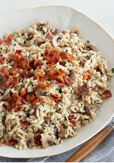 Bacon and Mushroom Risotto – Creamy risotto made with white wine and Parmesan cheese is on our list of the good things in life. When you add bacon and mushrooms, well... this side dish just knocks it out of the park.