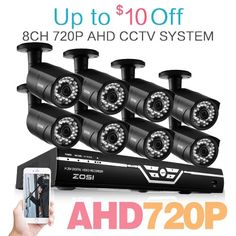 ZOSI 8CH 720P AHD DVR System with 8 Indoor/ Outdoor 30m Night Vision 720P Security Cameras Smartphone Scan QR Code Quick Remote Access NO HDD
