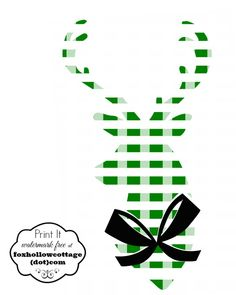 Free Christmas Printable Plaid Deer Head Silhouette