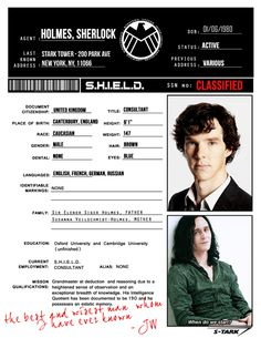 S.H.I.E.L.D. Files: Sherlock Holmes (requested by rp-er theconsultingavenger)