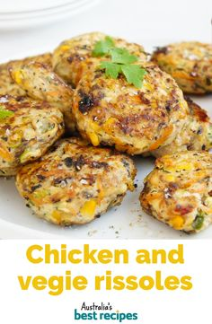 Turn chicken mince, canned corn and a few fresh ingredients into this easy weeknight dinner. Turn chicken mince, canned corn and a few fresh ingredients into this easy weeknight dinner. Healthy Dishes, Healthy Snacks, Healthy Recipes, Avocado Recipes, Chicken Rissoles, Rissoles Recipe, Baby Food Recipes, Cooking Recipes, Recipes Dinner