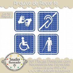 Persons with Special Needs Set, Set Placas Pessoas com Necessidades Especiais, Cego, Surdo, Mudo, Cadeirante, Cadeira de Rodas, Deficientes, Orelha, Mãos, Bengala, Ciegos, Sordos, Mudos, Silla de Ruedas, Discapacitados, Oído, Las Manos, Bastón de Caramelo, Blind, Deaf, Mute, Wheelchair, Disabled, Ear, Hands, Candy Cane, Aveugle, Sourd, Muet, en Fauteuil Roulant, Handicapé, Oreille, Mains, Corte Regular, Regular Cut, Silhouette, Arquivo de Recorte, DXF, SVG, PNG