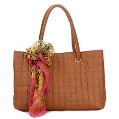 Eiko - Womens fashion tan satchel #handbag. tan #satchel design, top double handles, approx 42x26x14.5cm, top width 44cm, andle 21cm drop, approx 0.62kg, interior features center divider zip compartment, top zip closure, 1 zip pocket, 1 mobile phone pocket, 1 ID pocket, scarf decoration. $73.00 - Out of stock