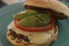 MADE IT: Salsa Verde Turkey Burgers topped with Pepper Jack cheese and avocado! -Rachael Ray Really yummy!