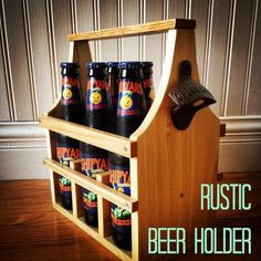 Rustic Beer Caddy. All wood, handmade. Perfect gift for the beer lover in your life.