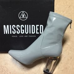 Patent Ankle Perspex Heel Grey Gray Dior-Inspired Clear heeled booties w zipper closure. Brand new, never worn! Missguided Shoes Ankle Boots & Booties