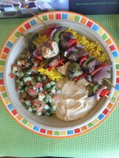 The Kabob Platter — Under $10. Great for two kids to share. Tip: The kabobs are customizable, so everyone is happy! Kabobs, Mediterranean Recipes, Platter, Potato Salad, Grilling, Deserts, Meat, Chicken, Dining