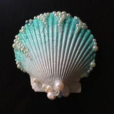 Aqua Seashell Hair Clip