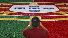 Portuguese flag made out of bottle caps to support Portuguese National Team and give away to charity.