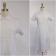 White Nurses Uniform Vintage Nurse Dress by OdettesVintage Vintage Nurse, Medical Scrubs, Nursing Dress, Vintage Shops, 1970s, Vintage Outfits, Cold Shoulder Dress, Buy And Sell, Short Sleeve Dresses