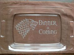 Game Of Thrones Casserole Dish, Etched Baking Dish, Sandblasted Glass Dish by FlattailGlass on Etsy https://www.etsy.com/listing/269625813/game-of-thrones-casserole-dish-etched
