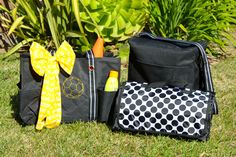 The perfect set for those days at the field! Organizing Utility Tote with soccer ball Icon-it, Varsity Cheer Scarf, Picnic  Thermal, and About Town Blanket.