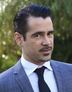 Colin Farrell classic gentleman slicked back side part