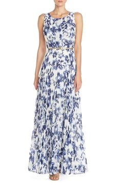 Eliza J Floral Pleat Chiffon Maxi Dress available at #Nordstrom