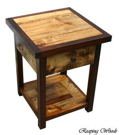 Beautiful Two-tone Reclaimed Early American Antique Barn Red Cedar End Table…