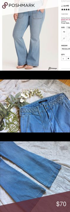 """Torrid flared boot cut jeans light wash Torrid flared boot cut jeans Light wash Size 12 Insider collection NWT Wide 2 button waistband with braided detail Flatlay measurements  Approx 42"""" L 32"""" I 17"""" W torrid Jeans Flare & Wide Leg"""