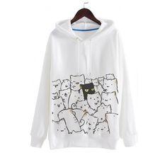 Leisure Cartoon Cat Print Long Sleeve Loose Hoodie (150 BRL) ❤ liked on Polyvore featuring tops, hoodies, white hoodie, long sleeve hoodie, long hooded sweatshirt, long sleeve hooded sweatshirt and long hoodies