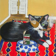 Popeye by Heather Sims.  This is a painting I did of my friends cat Popeye.. I felt a cat missing an eye needed a patch and his very own Popeye spinach, pipe
